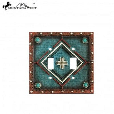 Montana West Leather-Like Aztec Design Turquoise Color Double Switch Plate Cover