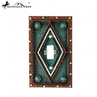 Montana West Leather Like Aztec Design Turquoise Color Single Switch Plate Cover