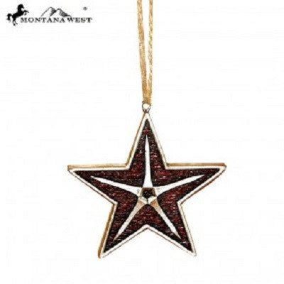 Montana West Burgundy Star Shape Resin Ornament