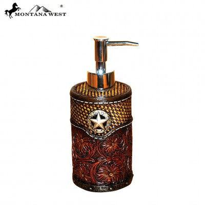 Lonestar Tooled Leather Resin Soap/Lotion Dispenser