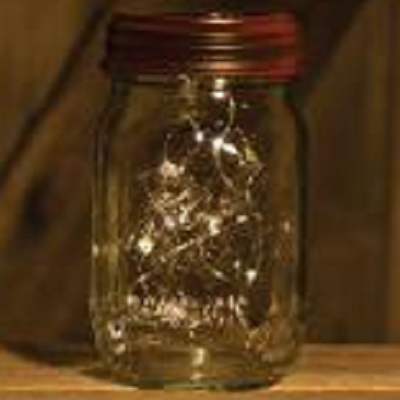 Rusty Solar Jar Lid With Strand Lights