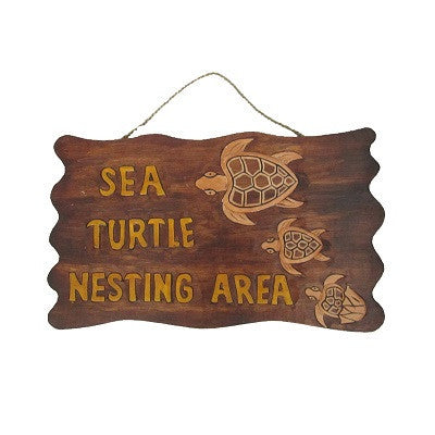 Sea Turtle Nesting Area Sign.