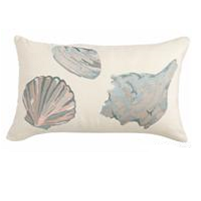 "Shells Embroidered 12"" x 20"" Pillow Cover"