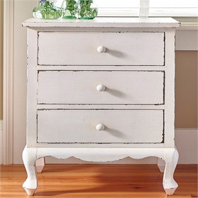 White Distressed End Table With Drawers