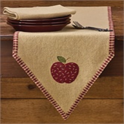 Burlap Cotton Applique Apple Table Runner