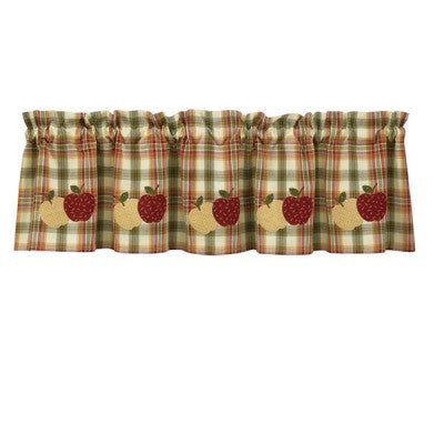 Burlap Cotton Applique Apple Valance