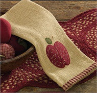 Burlap Cotton Applique Apple Decorative Dish Towel.