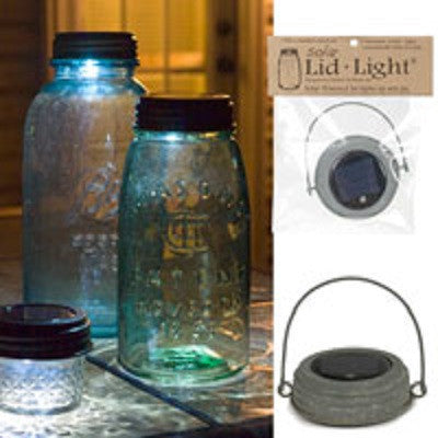 Hanging Solar Mason Jar Lid Light with Barn Roof Finished Lid
