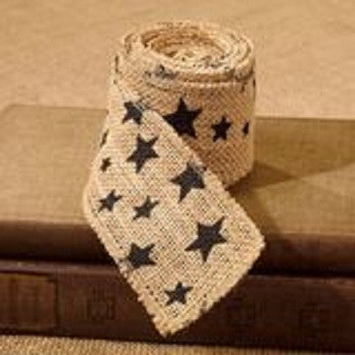 Black Star Burlap Ribbon