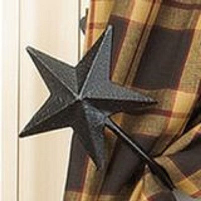 Black Metal Star Curtain Tie Backs ~ Pair