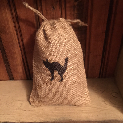 Scented Black Cat Burlap Sack