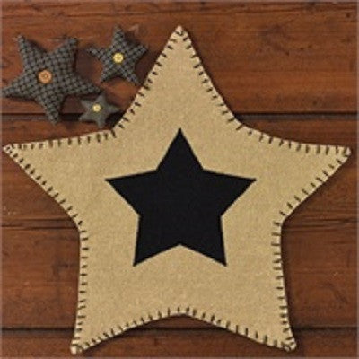 Burlap Black Star Mat