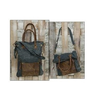 Blue & Leather Fold-Over Convertible Tote