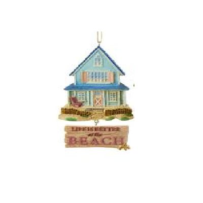 Kurt S. Adler Blue Beach House With Dangle Ornament