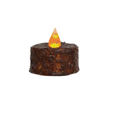 Brown Battery Operated Grungy Tealight Timer Candle
