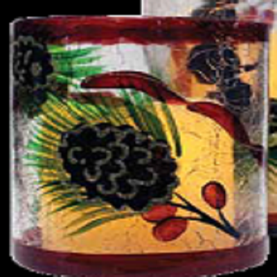 Pinecone & Berries Crackle Glass Flameless Candle