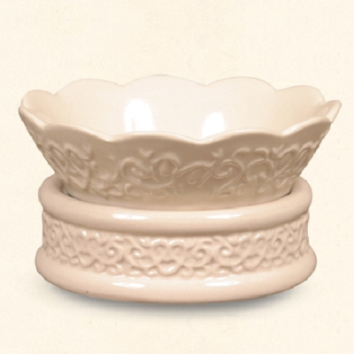 Cream Embossed 2 In 1 Warmer