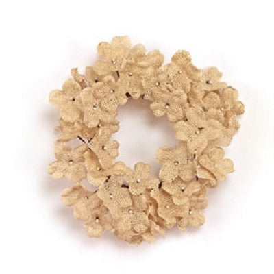 "Cream Burlap Hydrangea 4"" Candle Ring"
