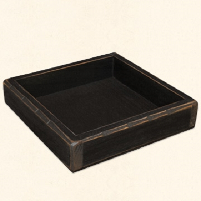 Black Wooden Candle Tray