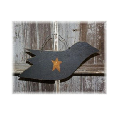 Hanging Crow with Star and Wire Hanger