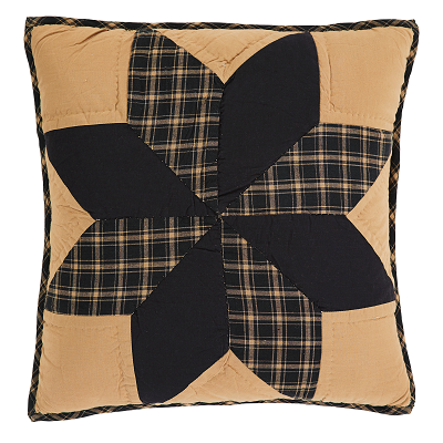 "Patchwork; Hand quilted, machine pieced; Stitch in the ditch and echo hand quilting; Traditional 8-point star center on solid tan ground; 100% cotton batting; Straight edge with .5"" bias cut black and tan plaid fabric; Reverses to light and dark tan check fabric with 3-tie closures; 3"" overlap to conceal pillow insert"