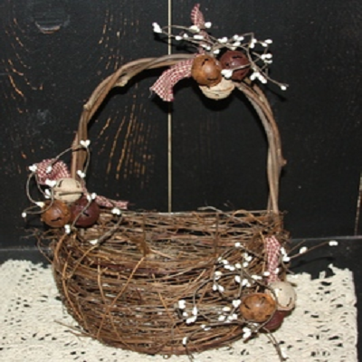 Decorated Jingle Bell Half Basket