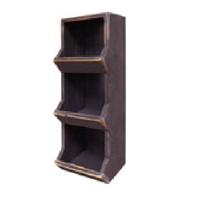 Distressed Black Wood Vertical Bin