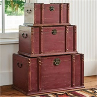 Set of Three Red Distressed Wood Stackable/Nesting Trunks