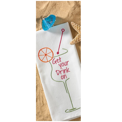 Get Your Drink On Embroidered Dish Towel
