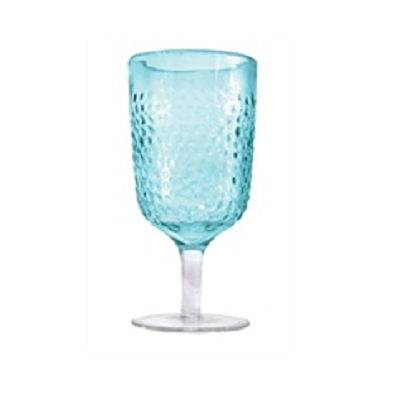 Hammered Aqua Wine Glass