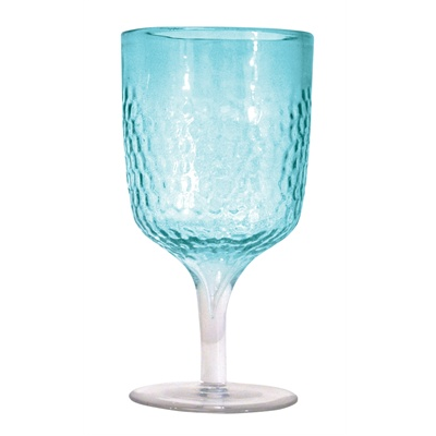 Hammered Aqua Wine Goblet