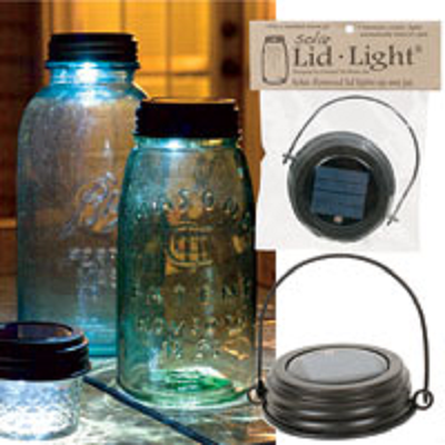 Hanging Solar Mason Jar Lid Light with Rustic Brown Lid