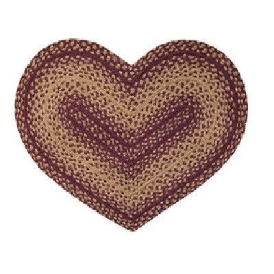 Burgundy & Tan Braided Heart Rug