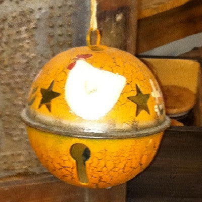 Large Rusty Tin Bell with Painted Hen Ornament
