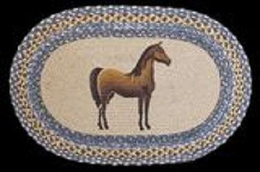 Horse Oval Shaped Hand Printed Rug