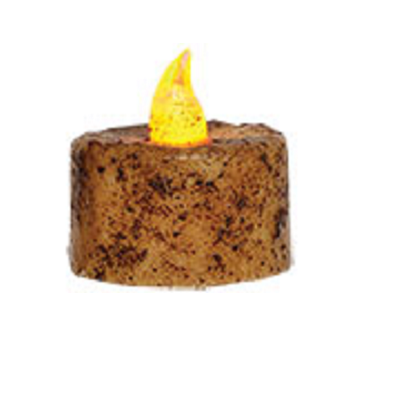 Ivory Battery Operated Grungy Tealight Timer Candle