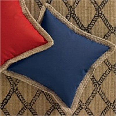 Jute Trim 18 Inch Pillow Cover ~ Blue