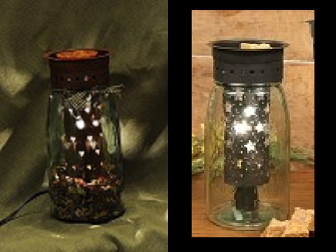 Quart Size Mason Jar Wax Warmer with Star Cut Out