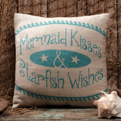 Mermaid Kisses & Starfish Wishes Pillow