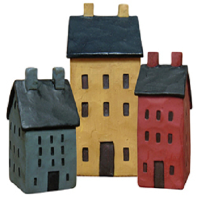 Set of Three Mini Resin Houses