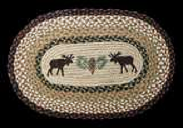 Moose Design Oval Rug