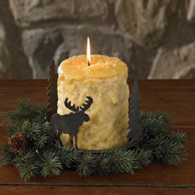 Metal Moose and Fir Tree Candle Pan