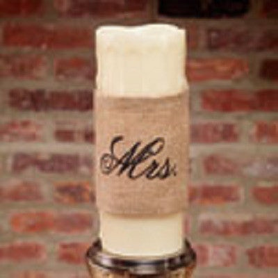 "Burlap ""Mrs."" Candle Wrap"