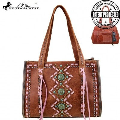 Montana West Concho Collection Concealed Handgun Tote ~ Geometric Studs & Tassels ~ Brown