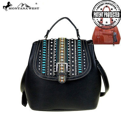 Montana West Belt Buckle Collection Concealed Handgun Satchel ~ Black