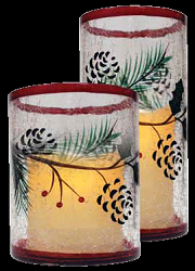 Winterberries Crackle Glass Flameless Candle