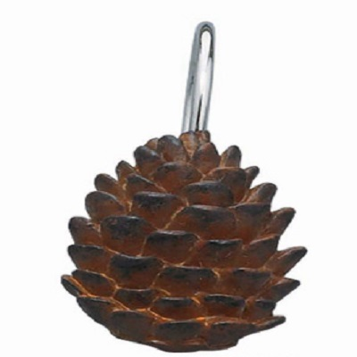 Resin Pine Cone Shower Curtain Hooks