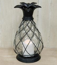 Metal & Glass Pineapple LED Lantern