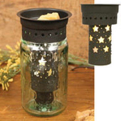 Pint Size Mason Jar Wax Warmer with Star Cut Out