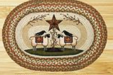 Primitive Sheep Crows & Star Oval Shaped Rug
